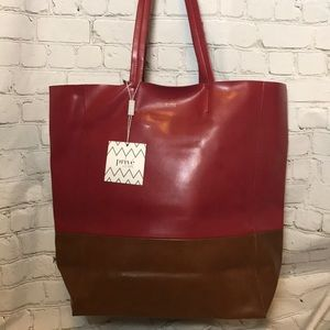 NEW red and brown tote bag purse